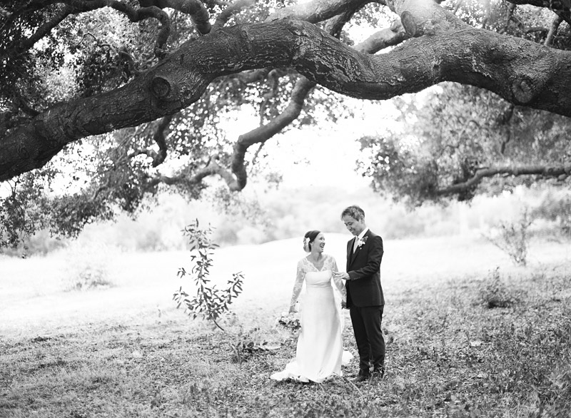 The Stow House Wedding Bride and Groom under an oak tree (2 of 2)