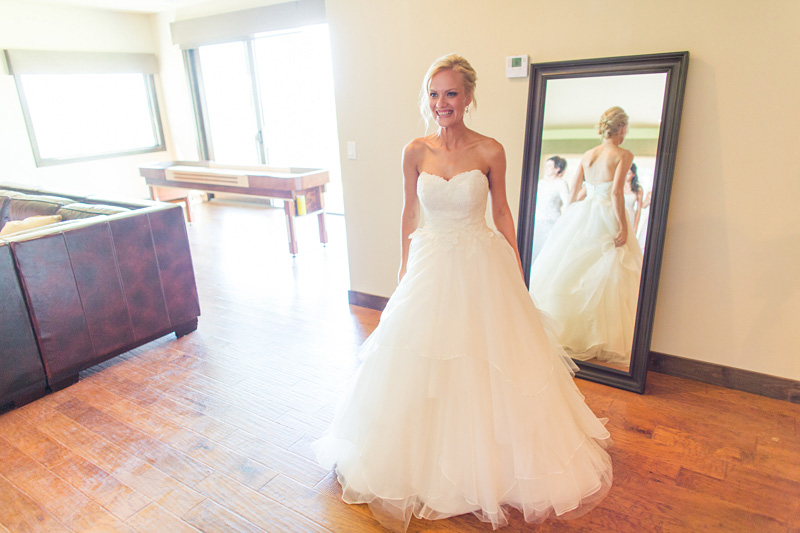 Greengate Ranch Wedding Bride after putting her dress on