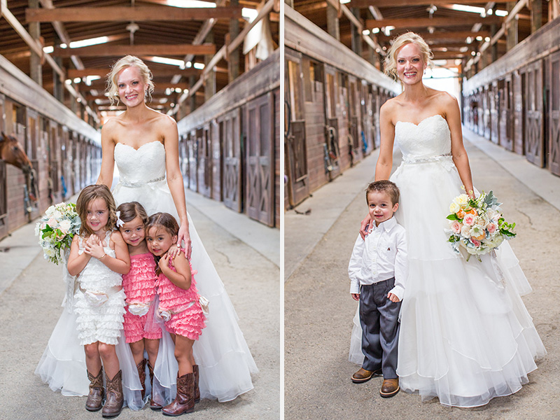 Greengate Ranch Wedding Bride with ring bearer and flower girl in the barn