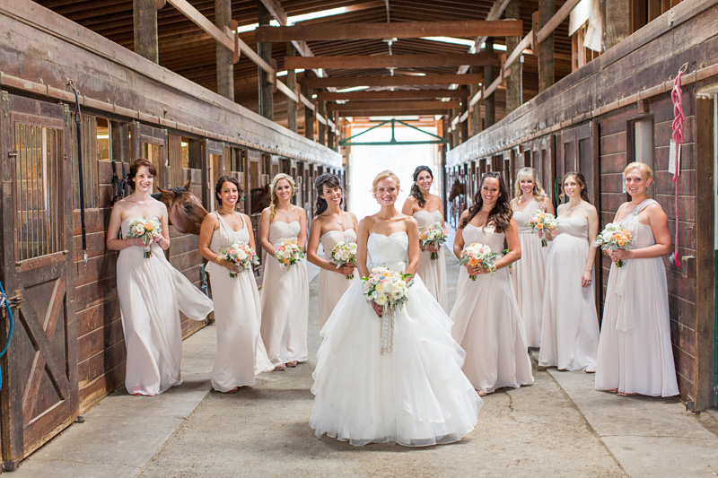 Greengate Ranch Wedding Bride with Bridesmaids inside the barn (1 of 2)