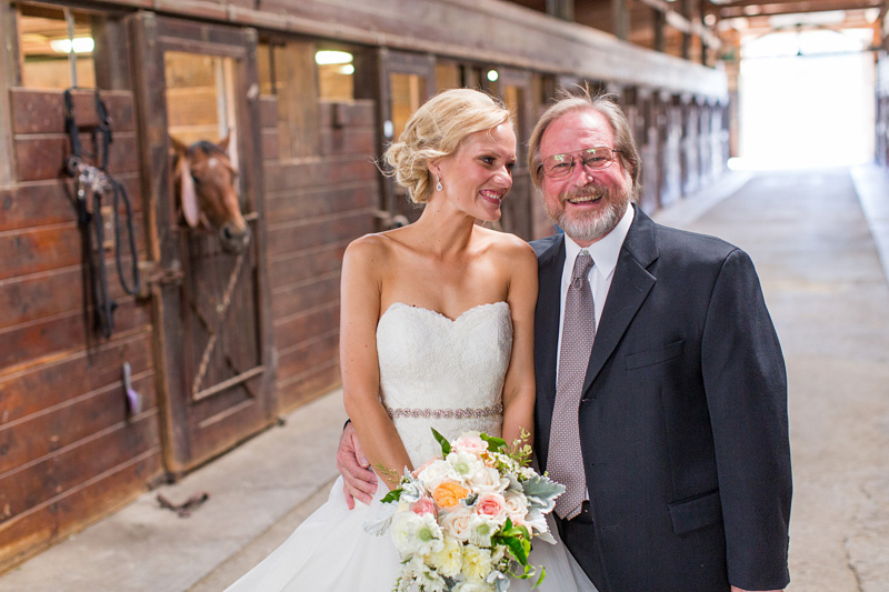 Greengate Ranch Wedding Bride with her Father inside the barn