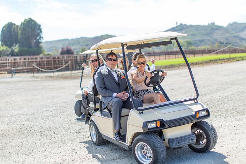 Greengate Ranch Wedding Groom in a golf cart