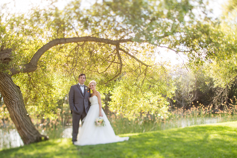 Greengate Ranch Wedding Bride and Groom under a tree in the grass field