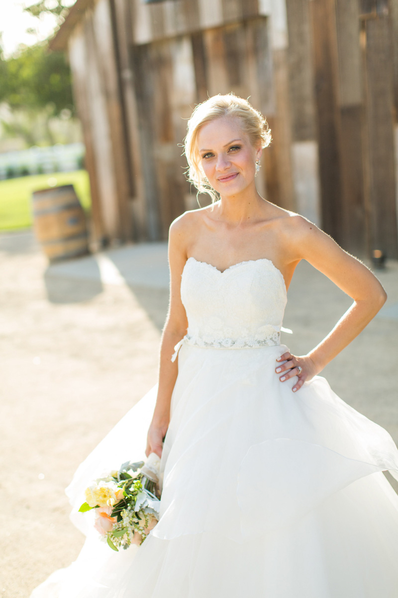 Greengate Ranch Wedding Bride in front of the barn