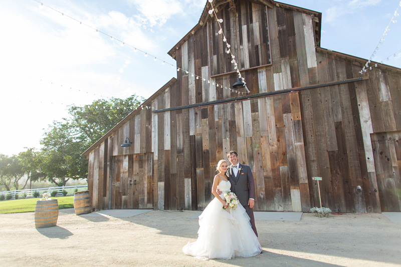 Greengate Ranch Wedding Bride and Groom in front of the barn