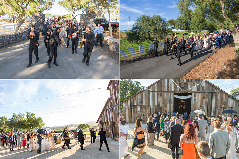 Greengate Ranch Wedding Second Line and guests throughout the property