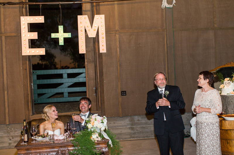 Greengate Ranch Wedding toast at the reception