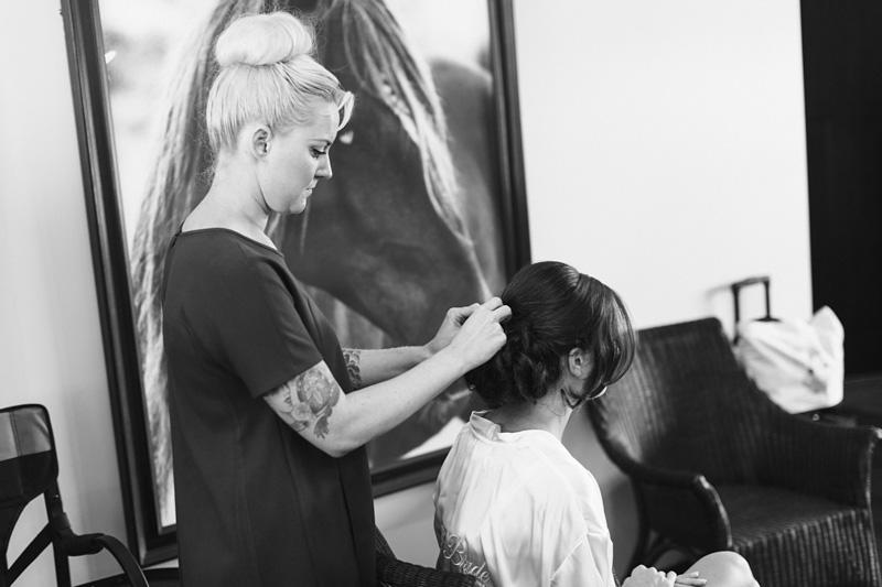 Greengate Ranch Wedding Jessi Skipton doing bride's hair