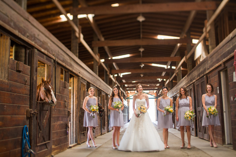 Greengate Ranch Wedding Bride in the barn with bridesmaids