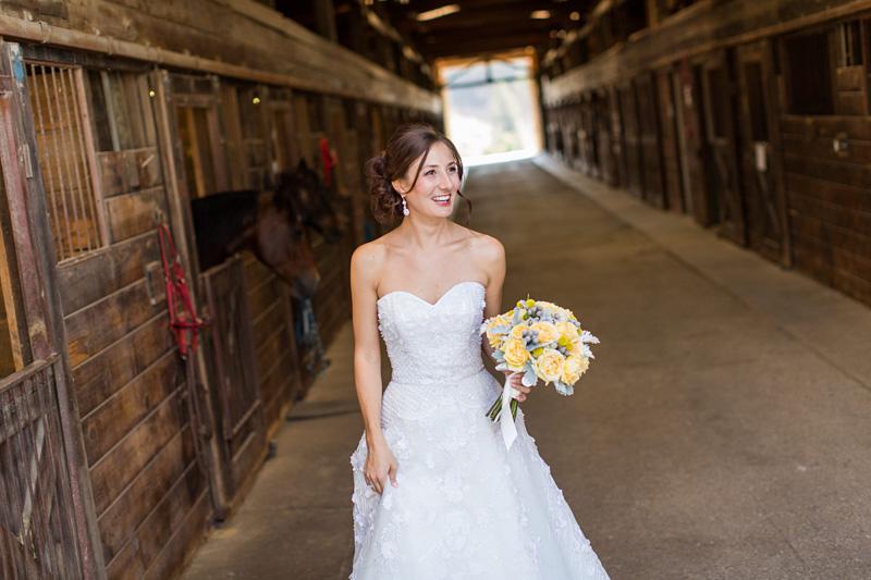 Greengate Ranch Wedding Bride outside the barn