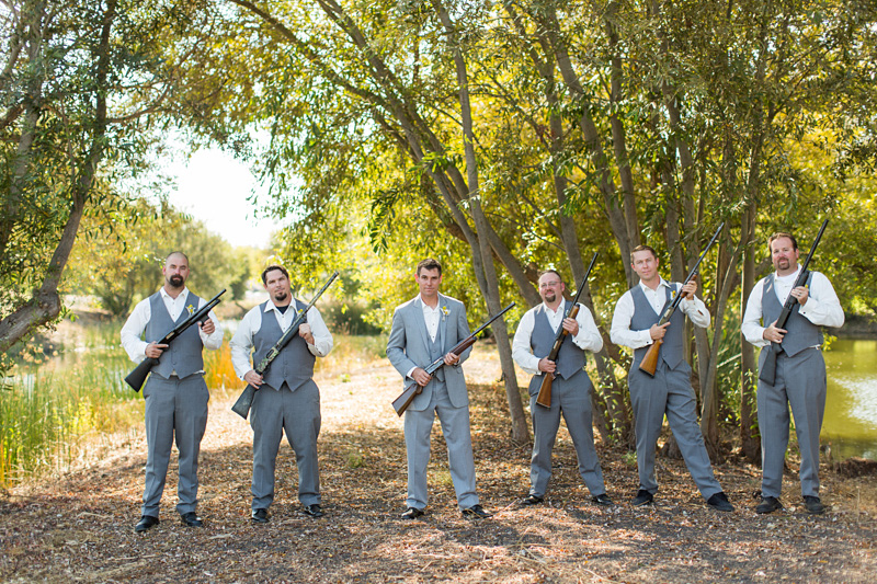 Greengate Ranch Wedding Groom and groomsmen with guns (2 of 2)