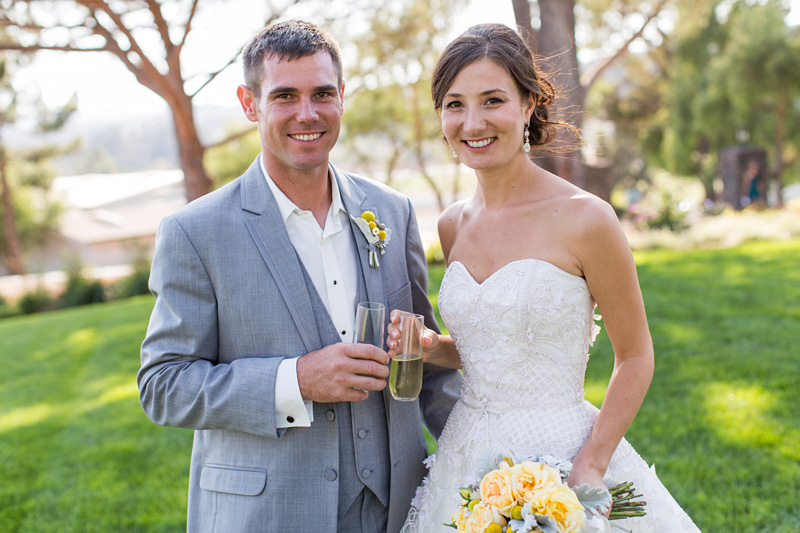 Greengate Ranch Wedding Bride and Groom with champagne