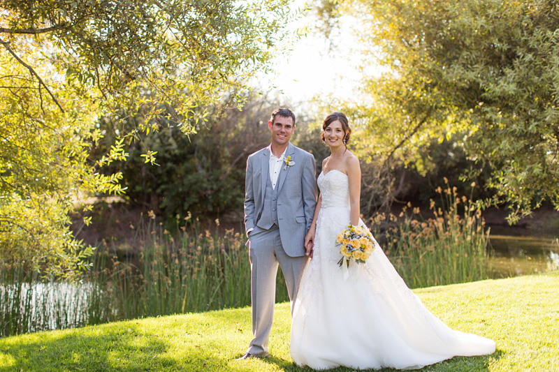 Greengate Ranch Wedding Bride and Groom by the river (1 of 3)