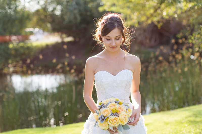 Greengate Ranch Wedding Bride by the river (2 of 2)