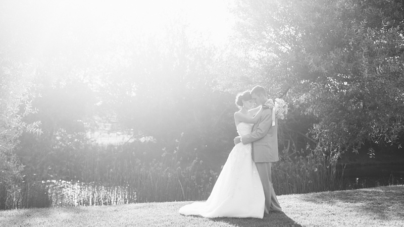 Greengate Ranch Wedding Bride and Groom by the river (3 of 3)