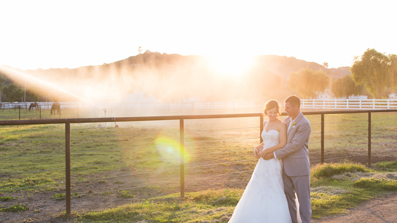 Greengate Ranch Wedding Bride and Groom holding each other at sunset photos (5 of 7)