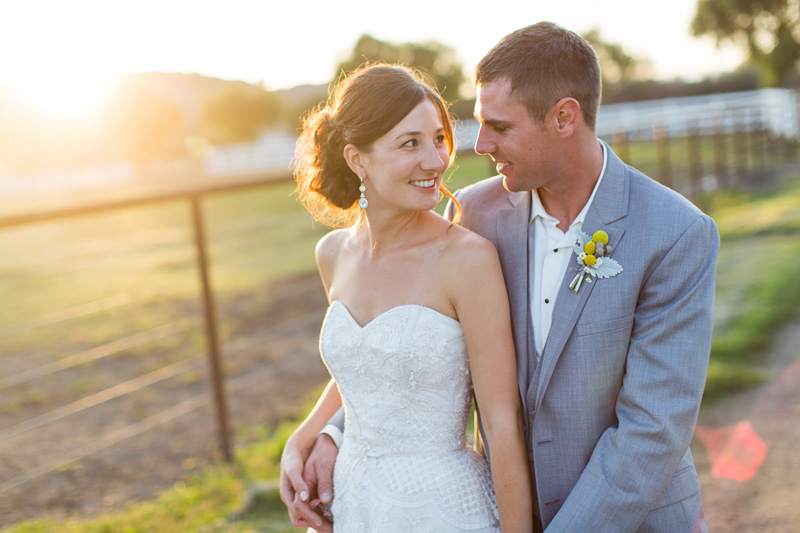 Greengate Ranch Wedding Bride and Groom looking at each other at sunset photos (6 of 7)
