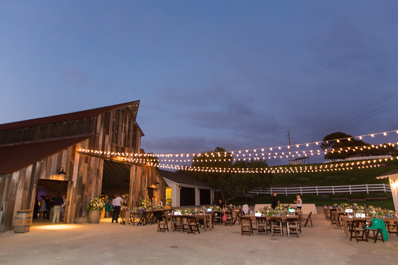 Greengate Ranch Wedding barn lit up with lights at the reception