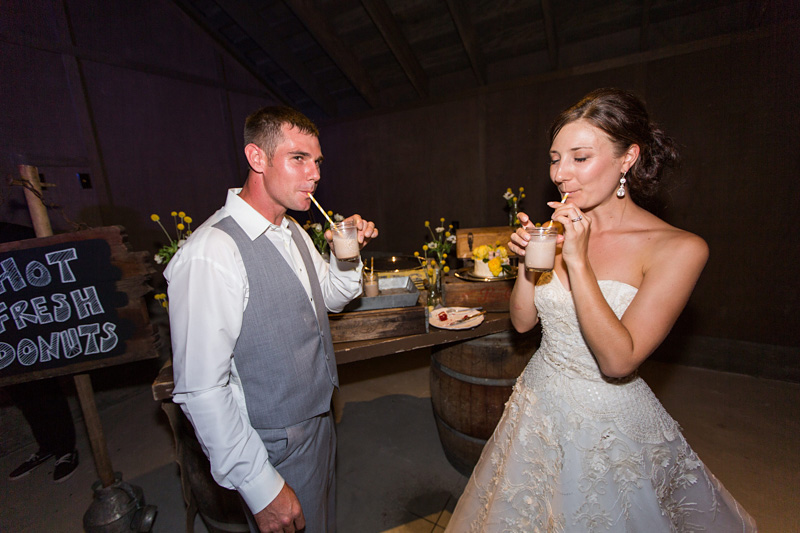 Greengate Ranch Wedding Bride and Groom drinking together