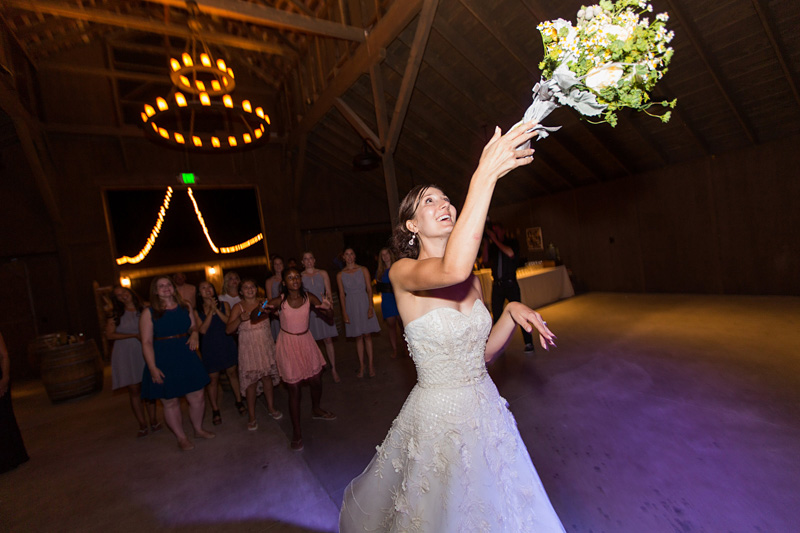 Greengate Ranch Wedding Bride throwing the bouquet