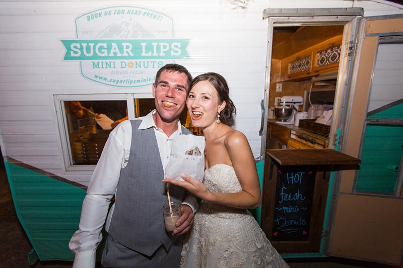 Greengate Ranch Wedding Bride and Groom eating Sugar Lips Mini Donuts
