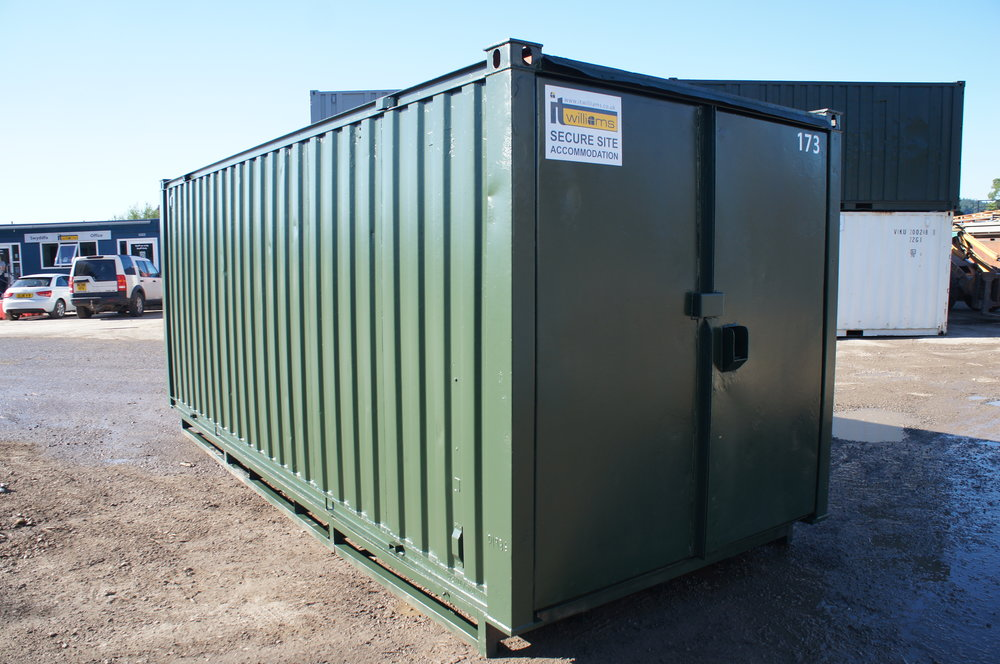 20x8 Refurbished Green Steel Storage Container with racking and