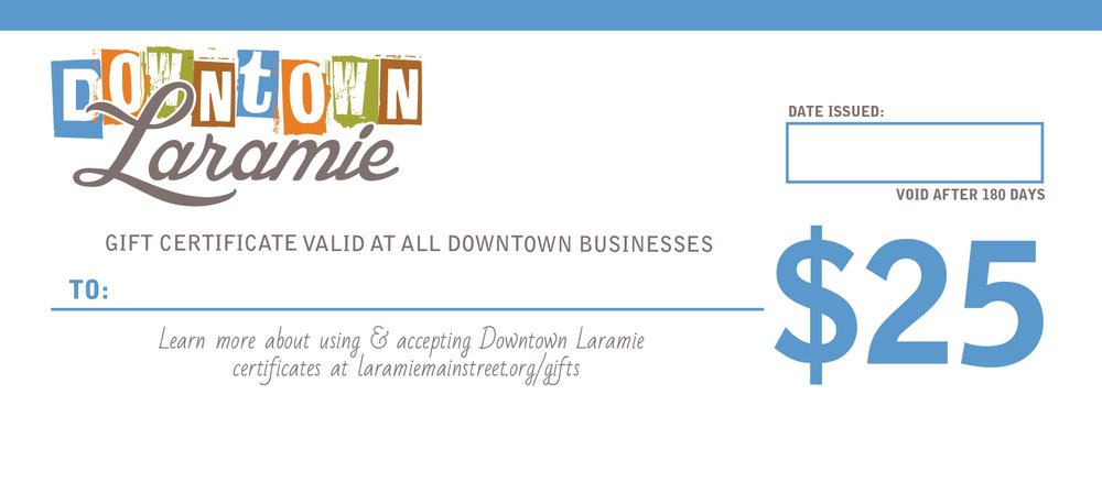 Downtown Laramie Wyoming Gift Certificates