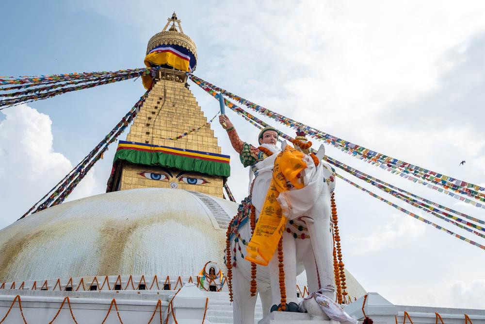 Warrior statue at the Boudhanath Stupa, Kathmandu, Nepal.