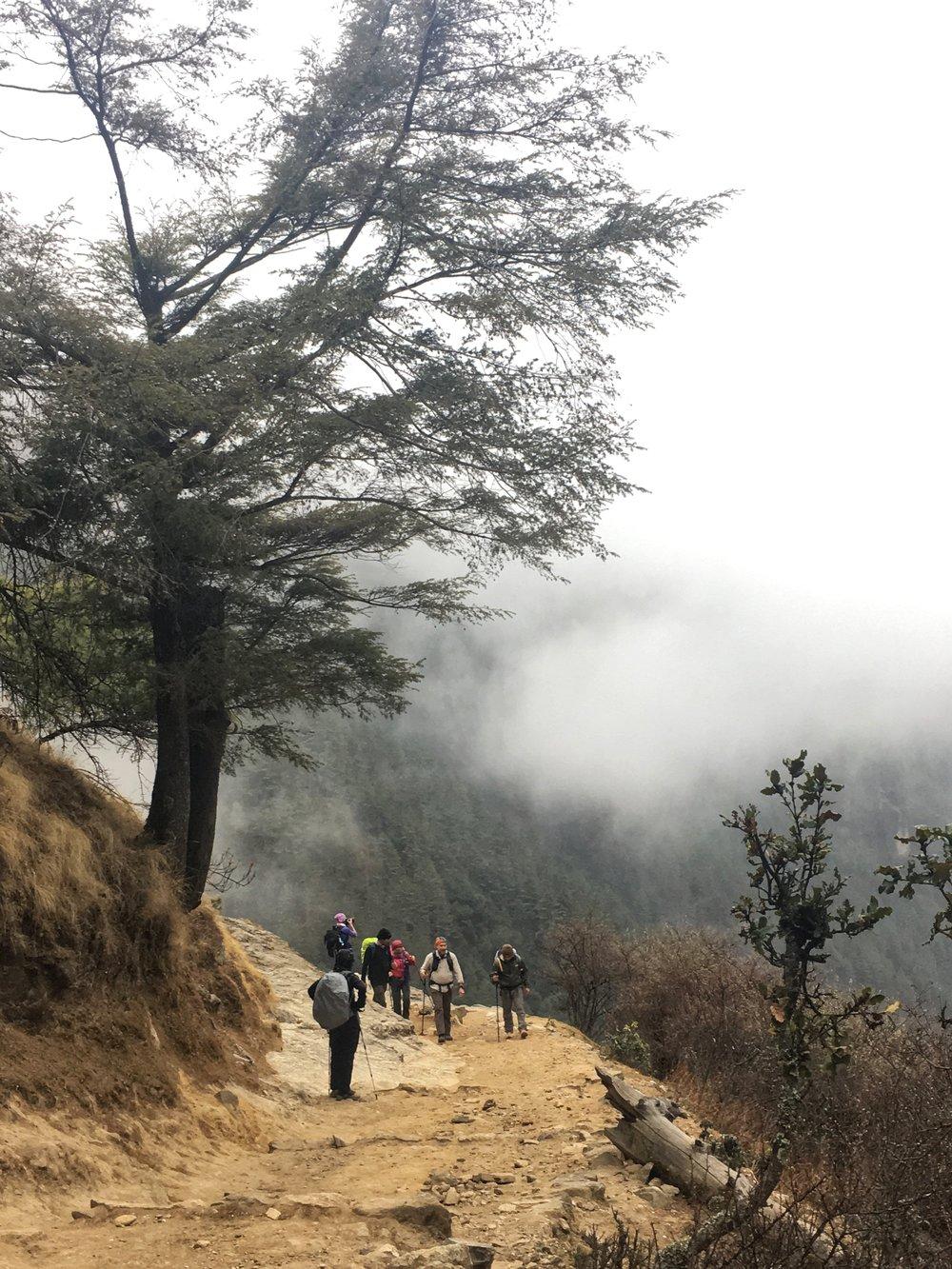 Trekkers on their way up to Namche Bazaar, Nepal.