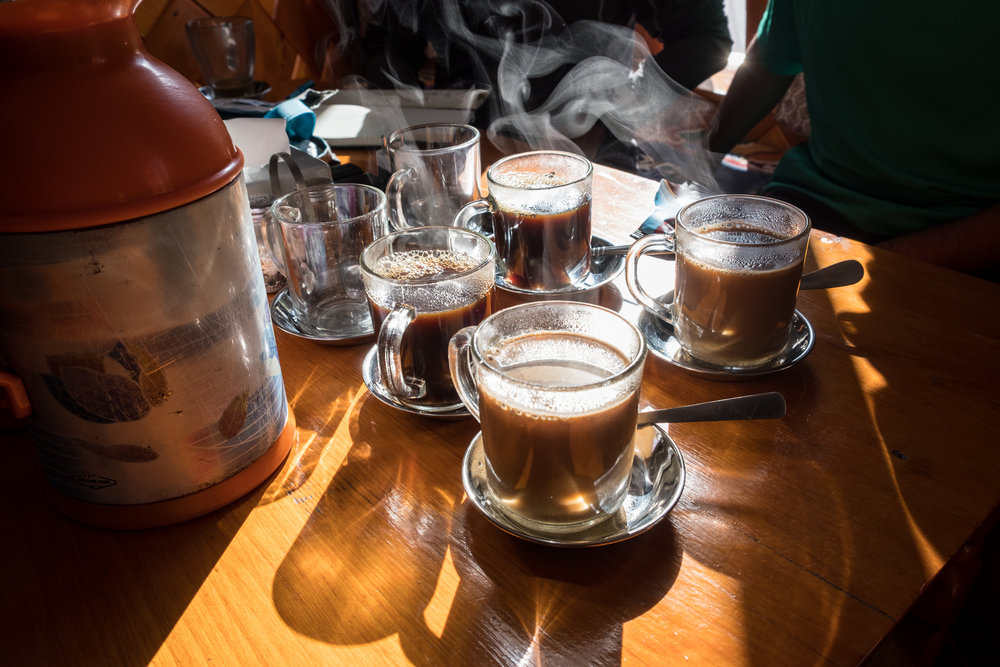 Morning coffees at the Nirvana Home Teahouse, Namche Bazaar, Nepal.