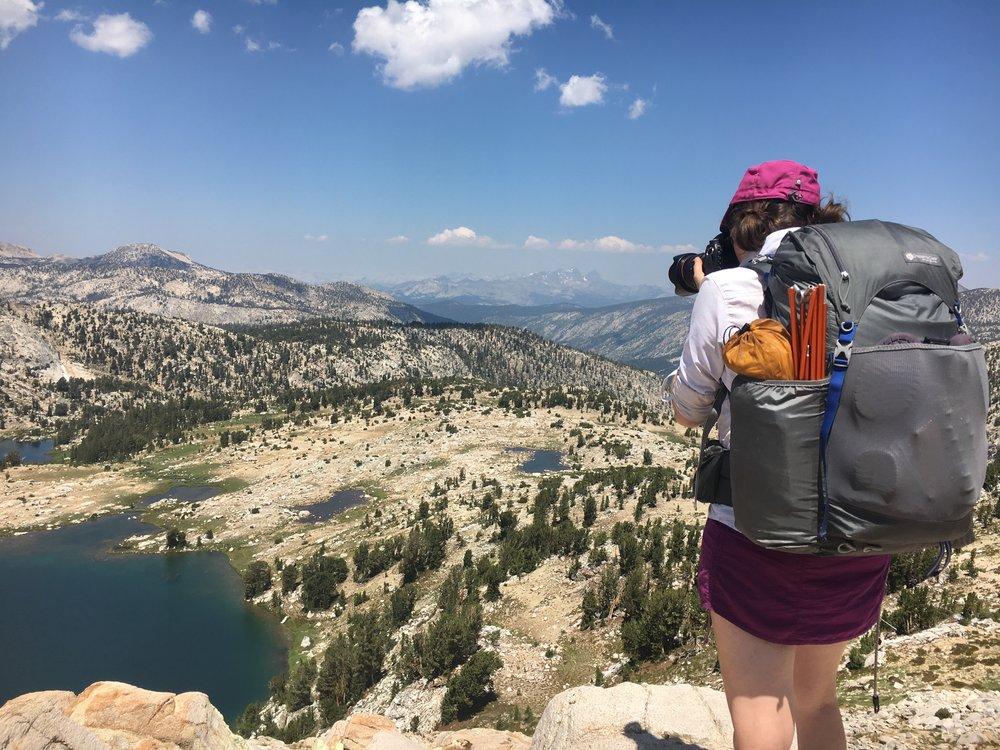 "GGH Founder, Melissa ""Click"" Goodwin on Donohue Pass, Sierra Nevada Mountains, California, 2016."