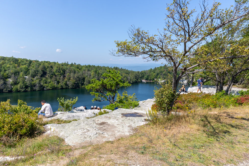 Lake views from the cliff above the east side of Lake Minnewaska. In the late 1800's through 1970, this spot was home the the Cliff House Hotel.