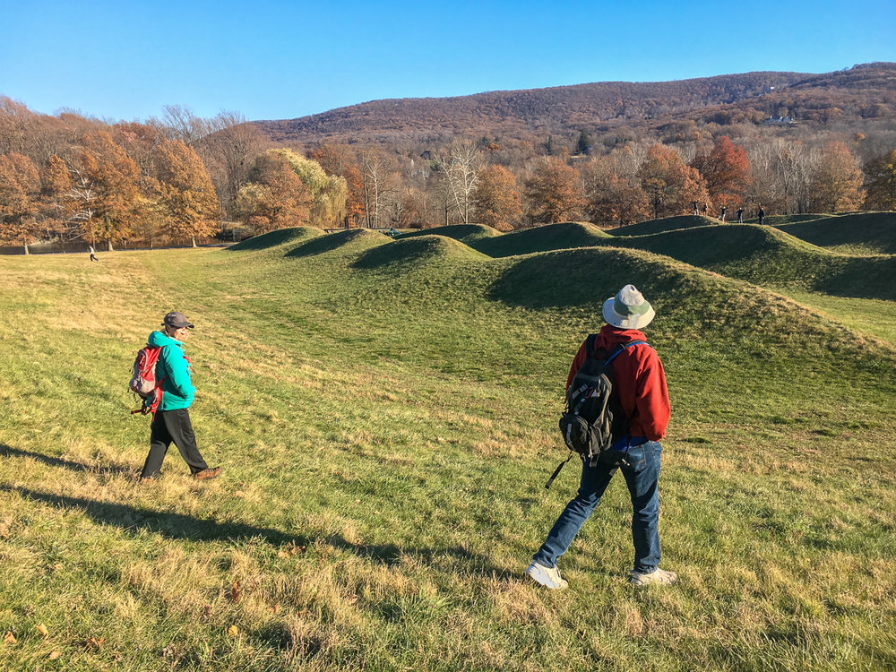 Enjoying Maya Lin's,  Storm King Wakefield,  at Storm King Art Center, Cornwall, NY