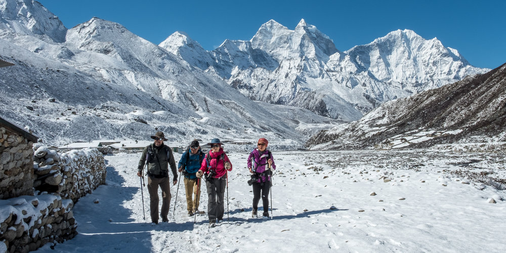 Hiking in the snow, Pheriche, Nepal.
