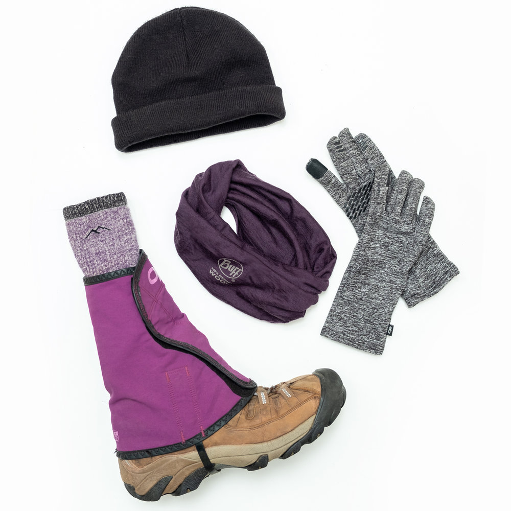 Bring all the layers — hat & gloves, scarf or a Buff, warm socks and gaiters to keep out all the drafts.