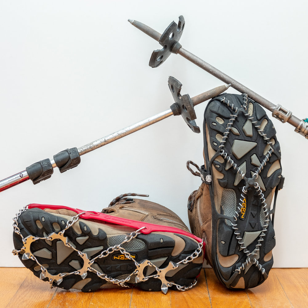 Bring all the pointy things to help stop yourself from slipping on slick ice and snow - trekking poles with snow baskets & metal on your feet.
