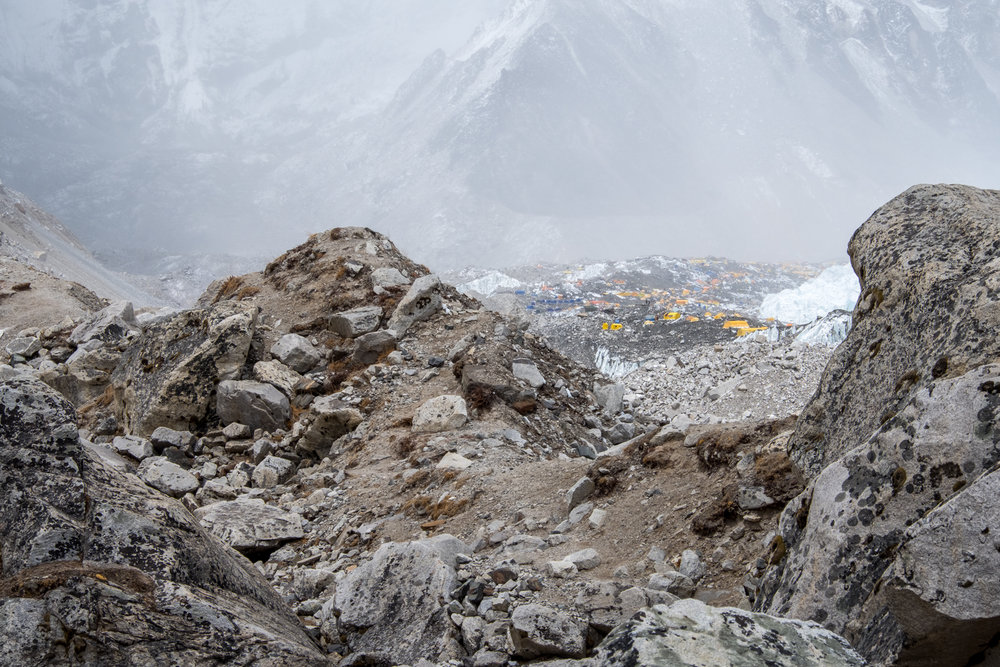Rounding a bend, we finally see the tents of Mount Everest Base Camp.