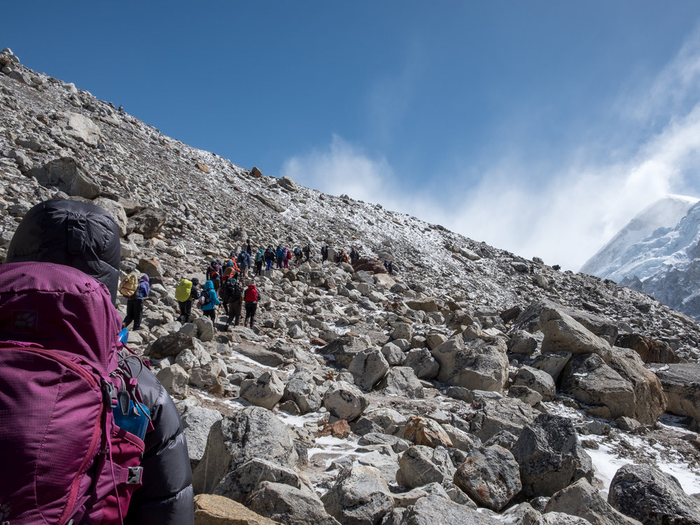 We cross paths with other groups of trekkers heading toward Gorakshep and Base Camp.