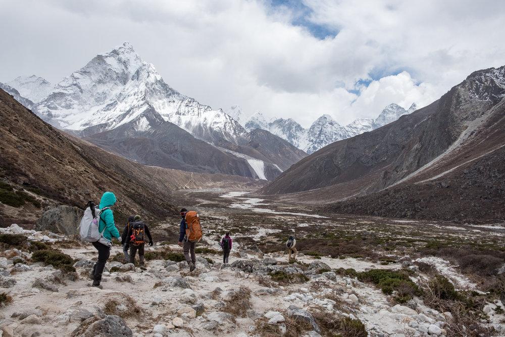 Down, down, down, back through the Dudh Khosi valley.