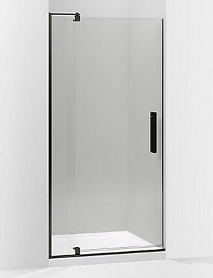 Kohler Revel shower door...we have the tub door upstairs and have been happy with it.