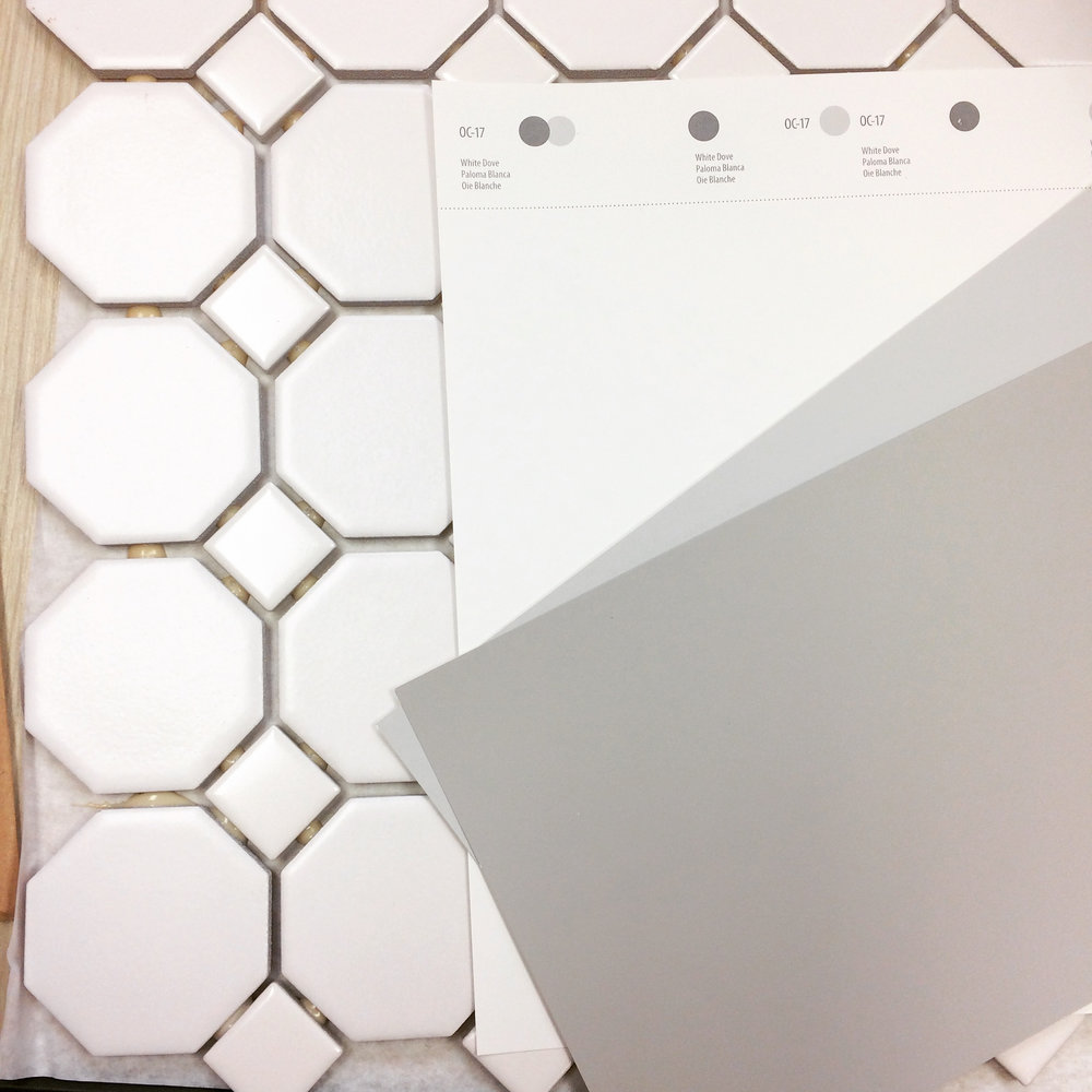 Color palette: Benjamin Moore's Dove White, Silver Chain, and Gray Huskie, with American Olean Sausalito floor tiles.