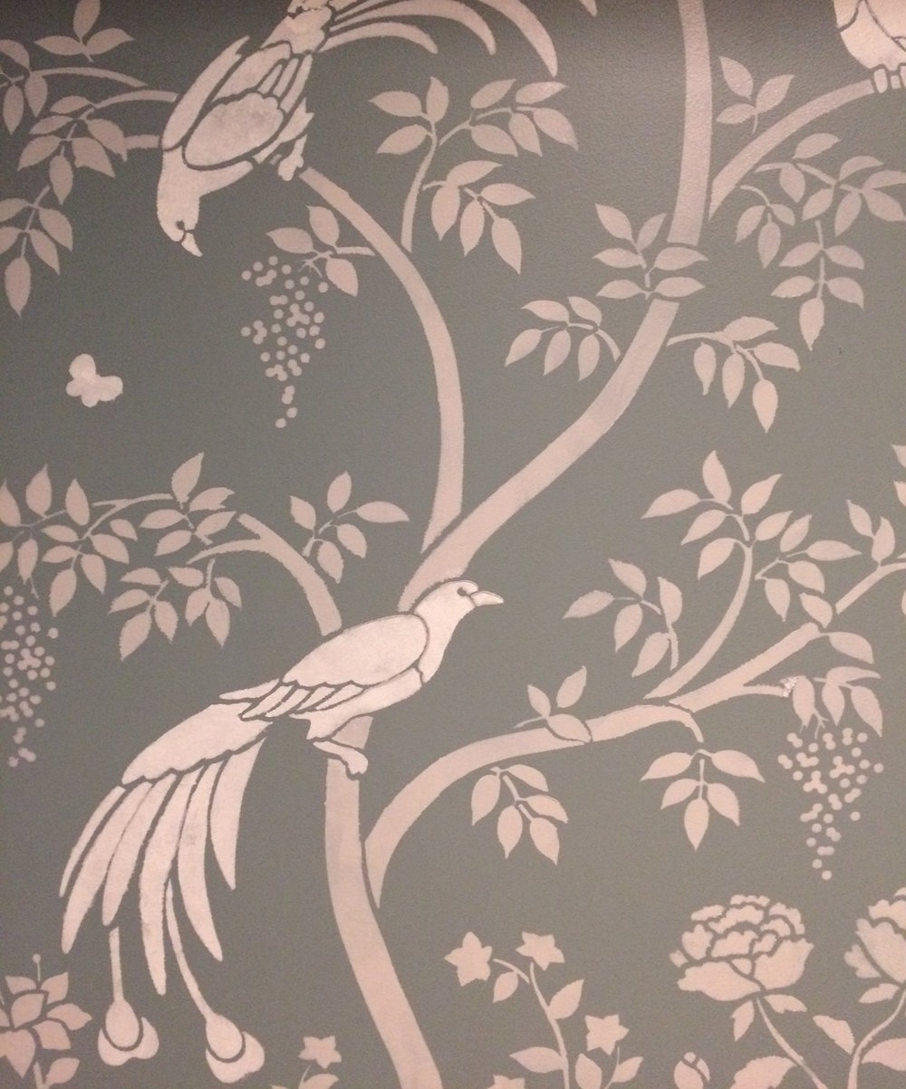 This was my test of the stencil in light colors on a dark background; in the bathroom, walls will be off-white and stencil will be light gray with darker gray birds.