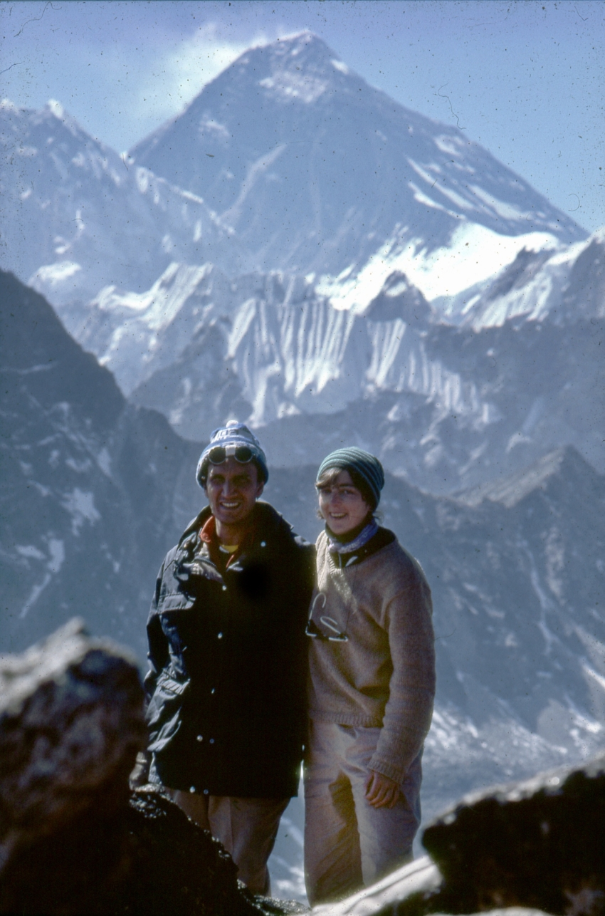 It was a lesson in courage  I carry with me always. Gokyo is 18.500 feet – and that is Mt Everest in the background. This shot of my wife and me on top the peak where I learned perseverance and commitment as I watched my wife navigate the last 1,000 feet of the climb.