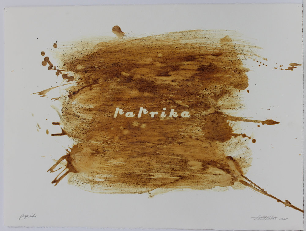 David Bobier, Paprika, paprika and beeswax on paper, 2015.jpg