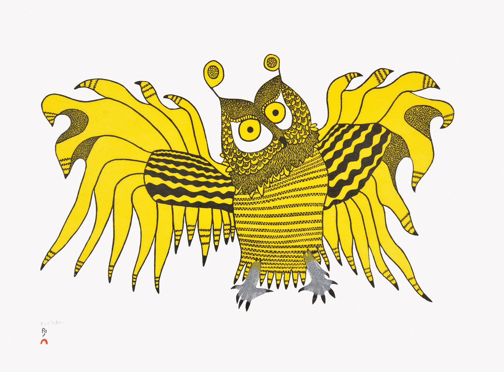 OOLOOSIE SAILA, Ornamental Owl, Stonecut.jpg