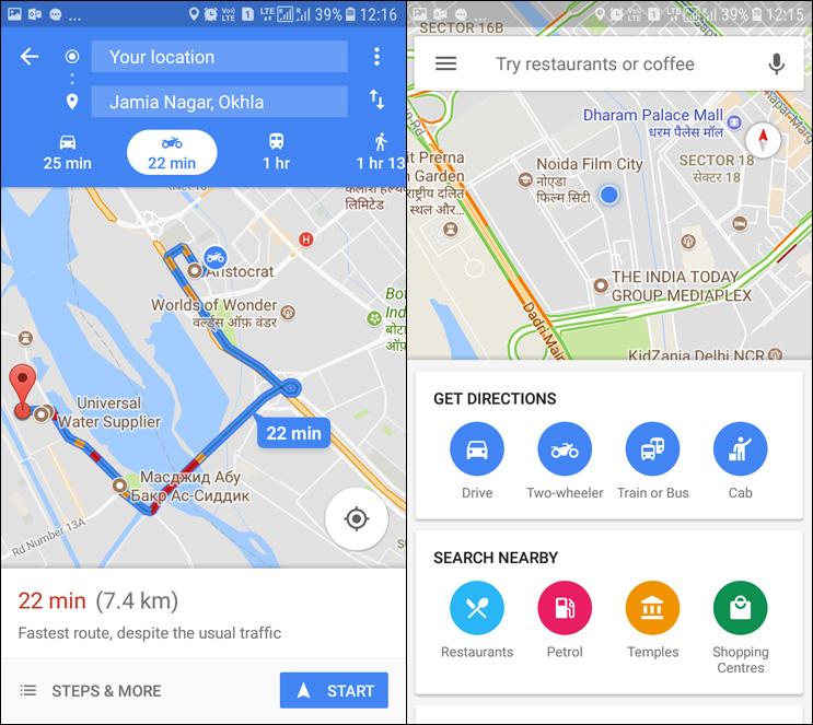 Google Maps (India) demonstrating Two-Wheeler mode.