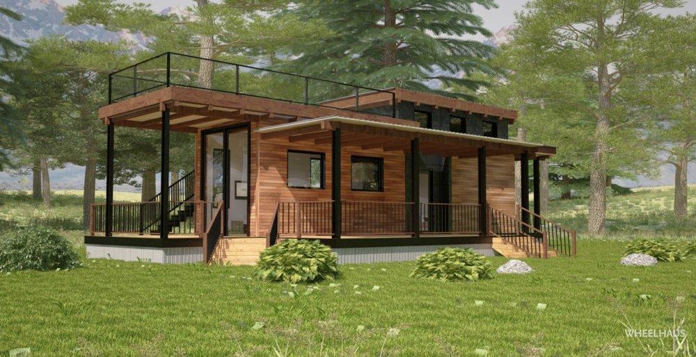 wheelhaus flat roof caboose - best modular homes under $200k