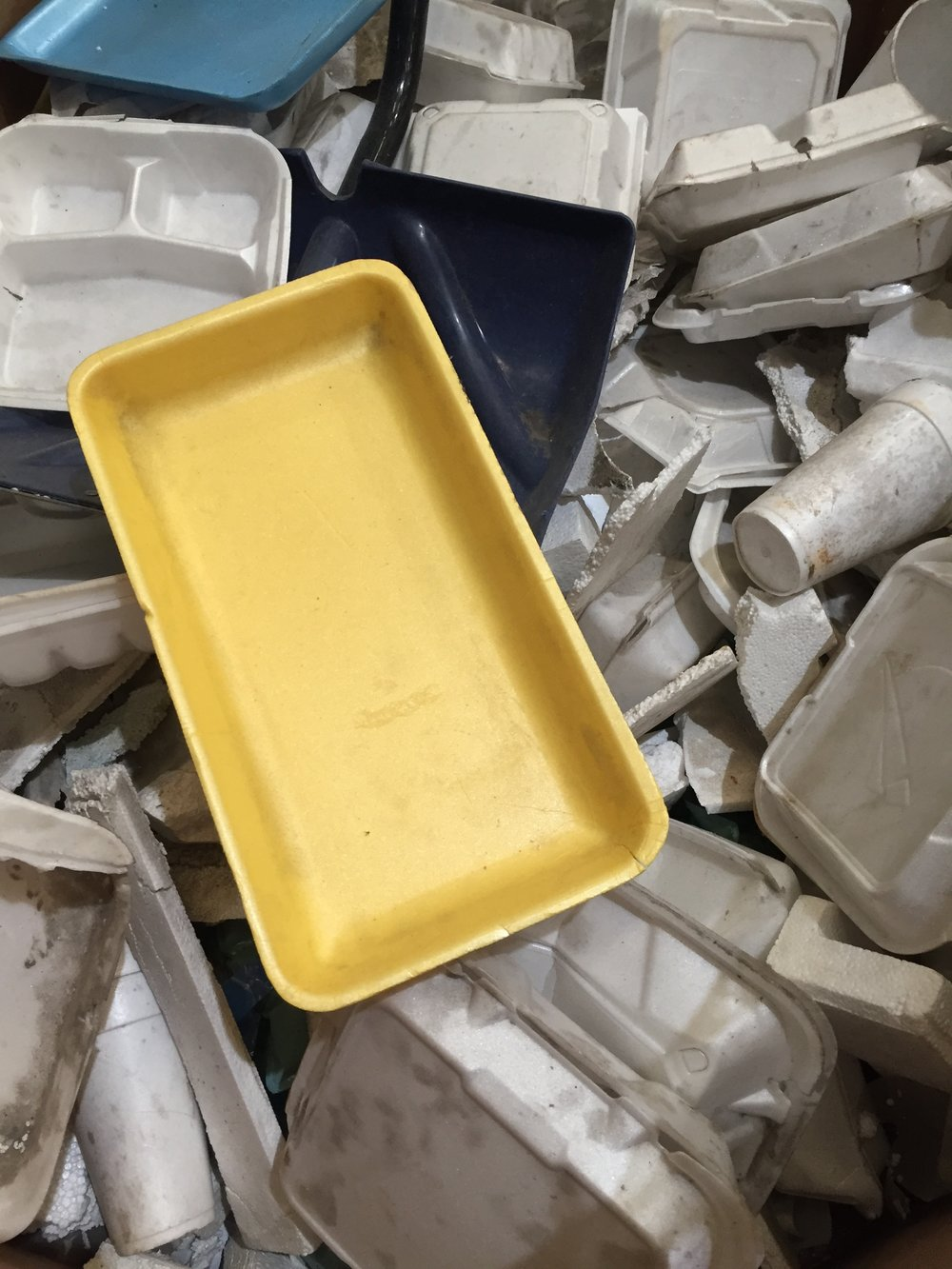 Loose polystyrene foam pre-densification