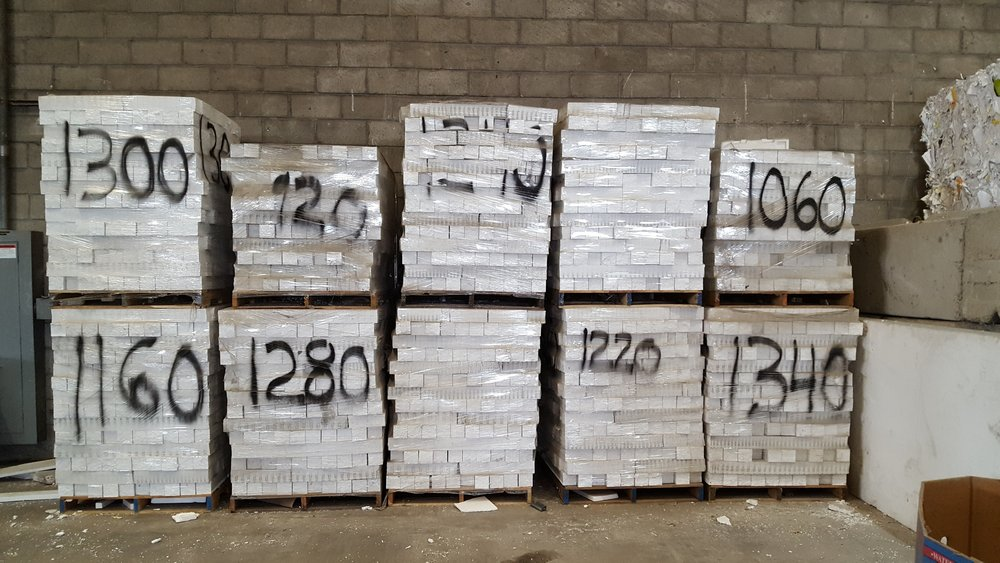Pallets of foam blocks ready for shipment