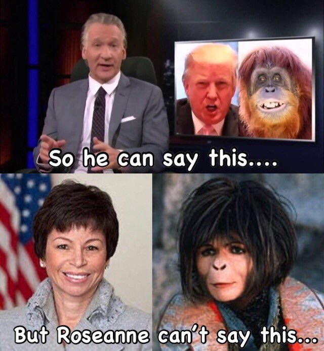 Bill Maher compares Trump to a primate.  His show was not canceled.